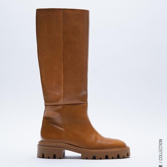 Zara Chunky Platform Leather Boots